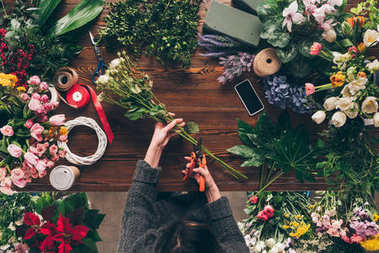 cropped image of florist cutting stalks of roses with pruner