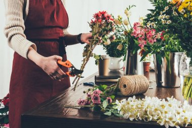 cropped image of female florist cutting stalks with pruner