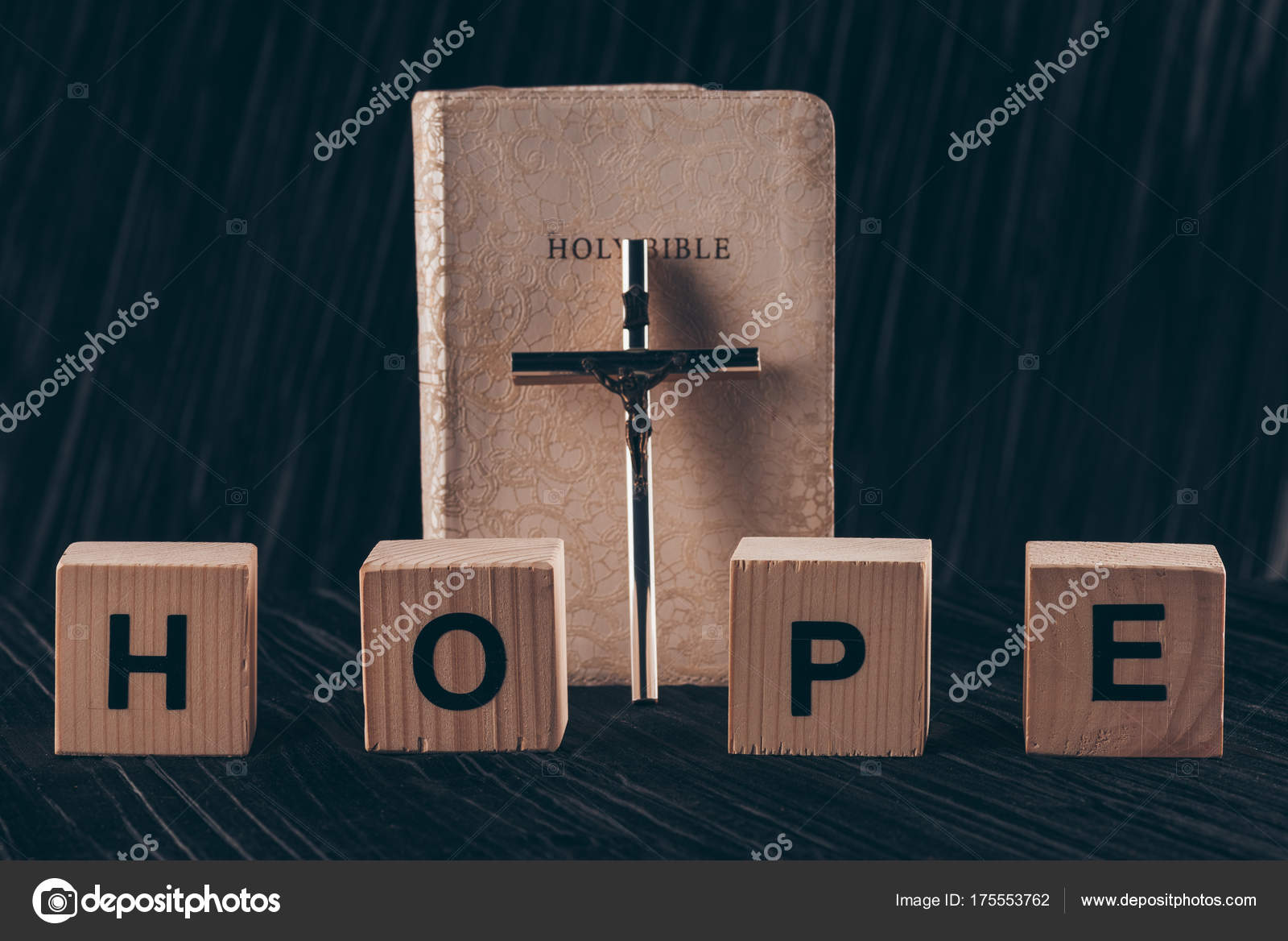 Wooden cubes word hope bible cross black table stock photo wooden cubes word hope bible cross black table stock photo buycottarizona Choice Image