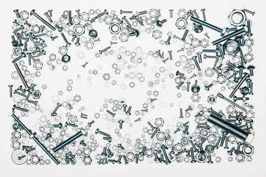 top view of arranged various metal engineering details isolated on white