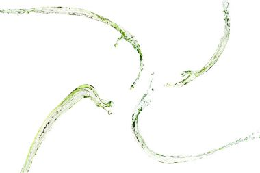 green water splashes isolated on white