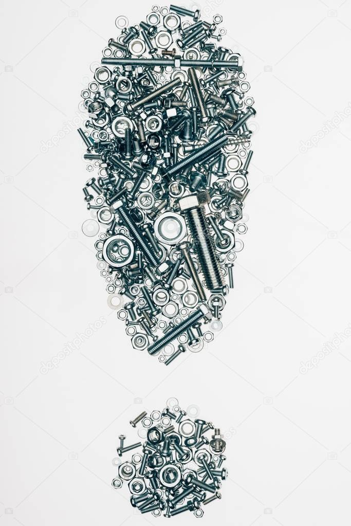 top view of mechanic details arranged in exclamation mark isolated on white
