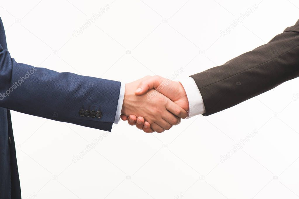 cropped image of shaking hands isolated on white