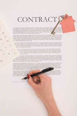 Top view of cropped hand signs contract of buying house isolated on white stock vector