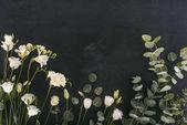 felülnézet eustoma virágok eukaliptusz levelek fölött fekete háttér
