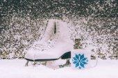 Fotografie bílé brusle s pohárkem na sněhu