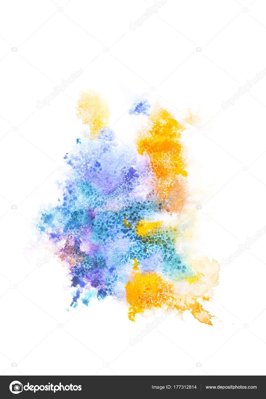 Peinture abstraite avec des taches peinture color e lumineuse sur blanc photographie - Peinture abstraite coloree ...