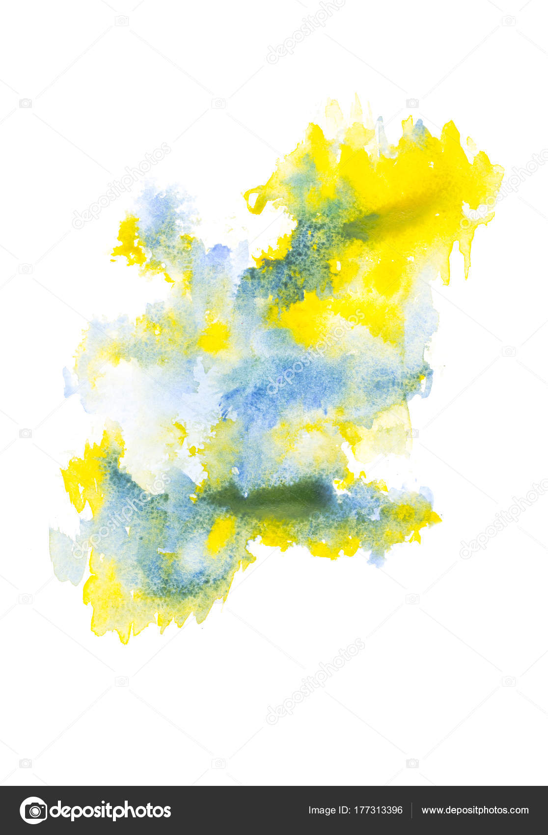 abstrait peinture bleu jaune taches peinture aquarelle sur blanc photographie vadimvasenin. Black Bedroom Furniture Sets. Home Design Ideas