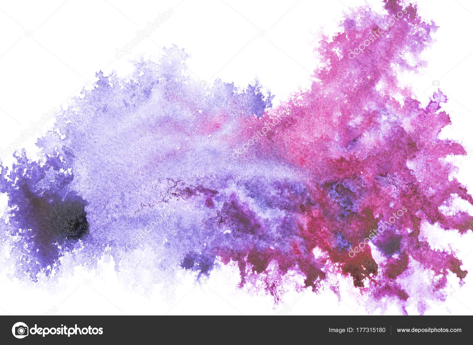 Abstract Painting Bright Blue Purple Paint Spots White Stock Photo