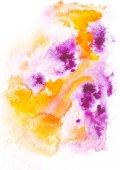 Abstraktní malba s skvrny oranžové a fialové barvy a tahy na bílém