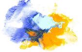 Abstraktní malba s modrými a žlutými malovat tahy na bílém