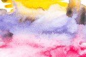 abstrakte Malerei mit bunten Farbklecksen auf Weiß
