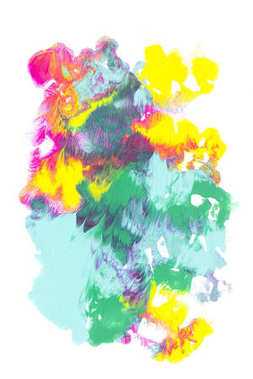 Abstract painting with colorful bright paint blots on white stock vector