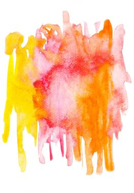 Abstract painting with red, pink, orange and yellow watercolour paint blots and strokes on white