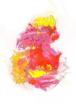 Abstract painting with colorful paint blots and female figure on white