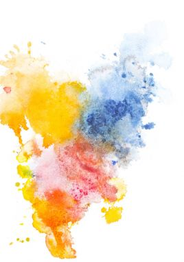 Abstract painting with red, yellow and blue watercolor paint spots on white