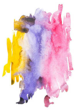 Abstract painting with colorful watercolour paint blots and strokes on white stock vector