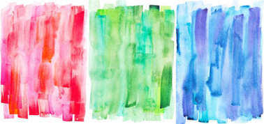 Abstract painting with red, green and blue paint strokes on white