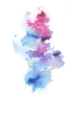 Abstract painting with bright colorful watercolour paint blots and spots on white stock vector
