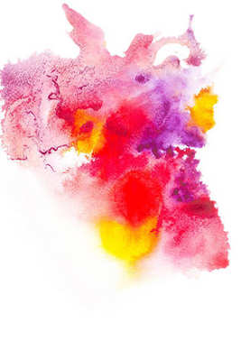 Abstract painting with colorful watercolor paint blots on white