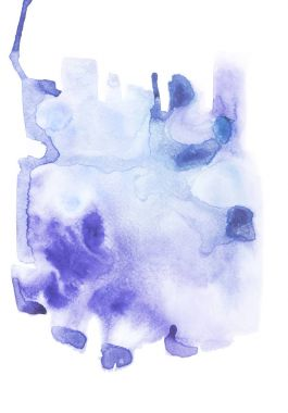 Abstract painting with blue watercolor paint blots and strokes on white stock vector