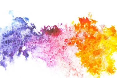 Abstract painting with colorful watercolor paint spots on white