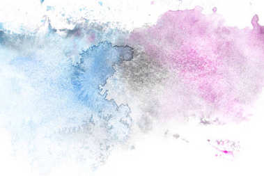 Abstract painting with light blue and purple paint blots on white stock vector