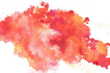 Abstract painting with bright red and orange paint blots on white stock vector
