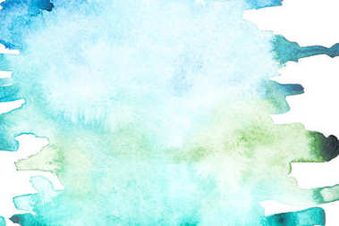 Abstract painting with blue and green paint strokes on white stock vector