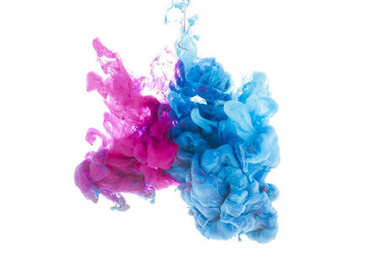 Mixing of blue and pink paint splashes isolated on white stock vector