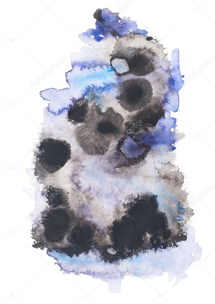 Abstract painting with black and blue paint blots on white