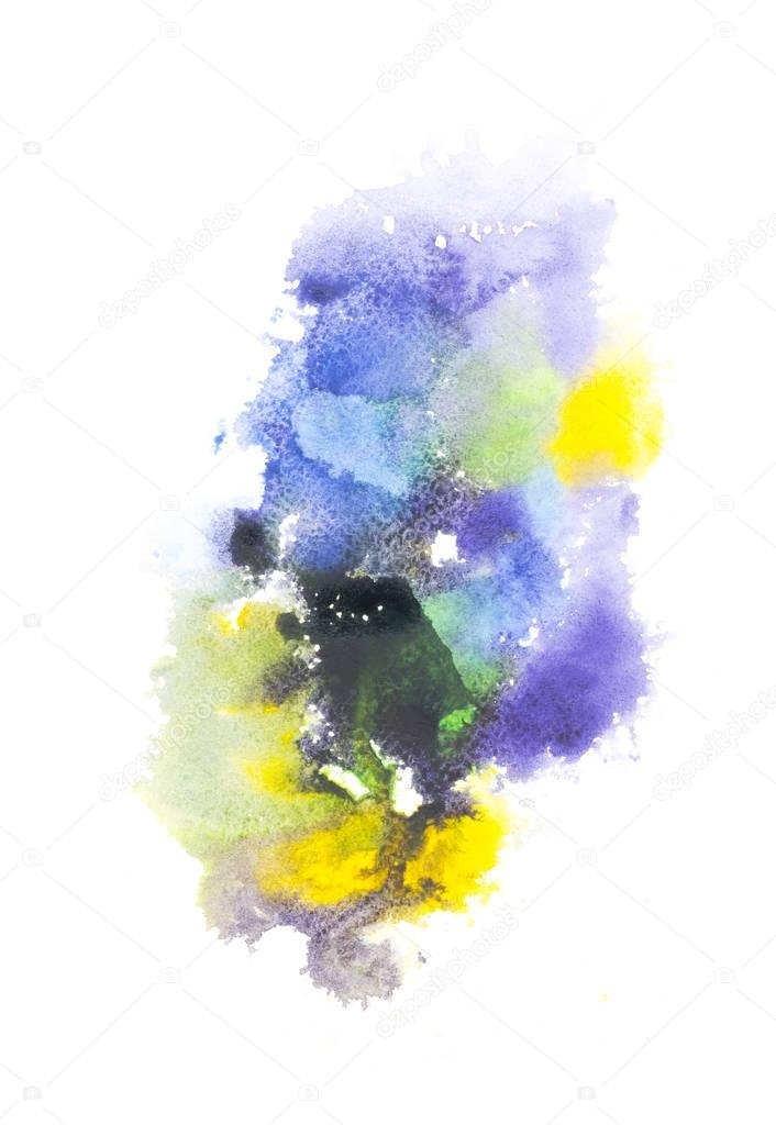Abstract painting with blue, green and yellow paint spots on white