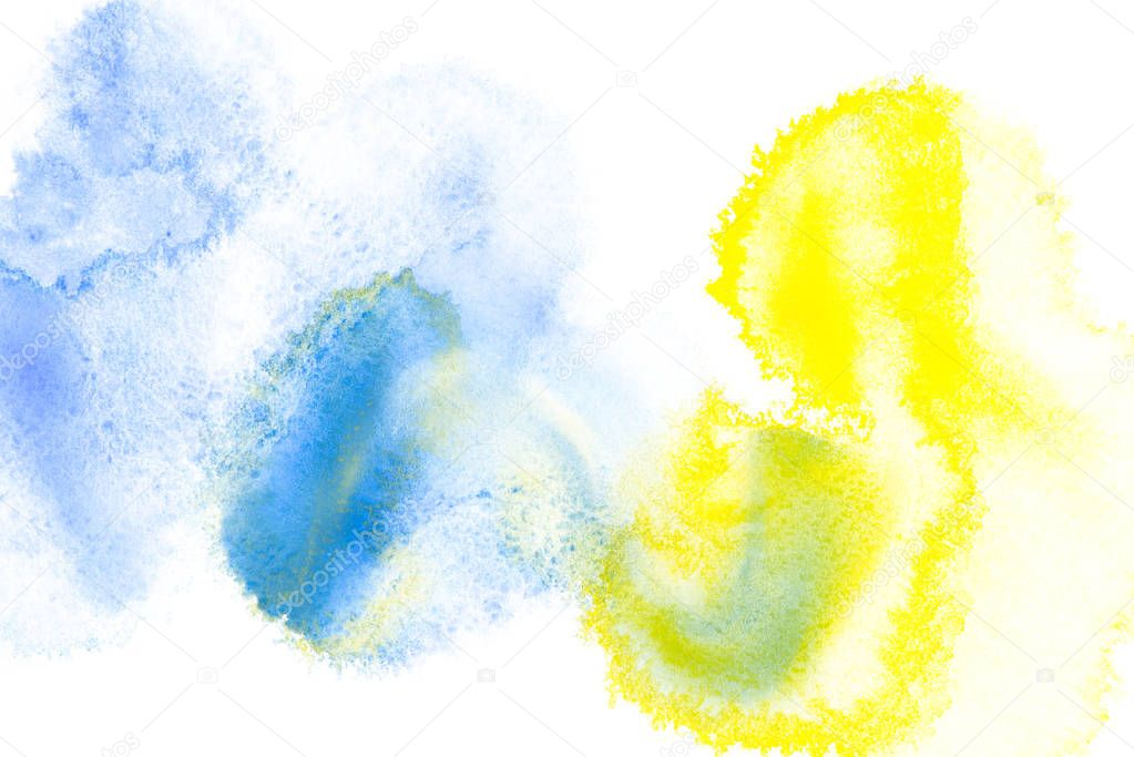 Abstract painting with bright blue and yellow paint blots on white