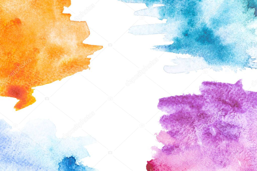 Abstract painting with orange, blue and purple paint strokes on white