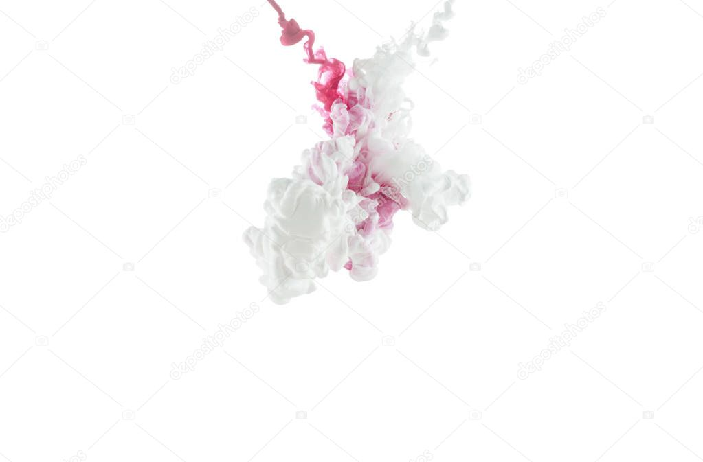 close-up view of pink paint splashes isolated on white