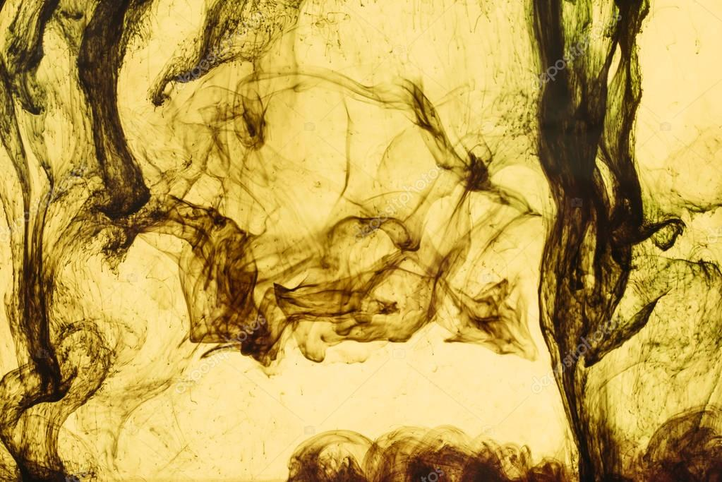 full frame of yellow paint splashes and swirls