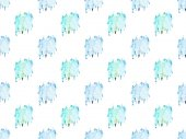 seamless pattern with blue watercolor paint spots, isolated on white