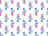 Fotografie seamless pattern with blue and pink watercolor paint spots, isolated on white