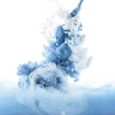 close up view of blue and light blue paint splashes in water, isolated on white