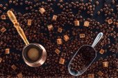 Photo flat lay with roasted coffee beans, coffee brewer and metal scoop
