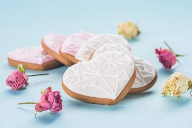 close up view of heart shaped cookies and decorative flowers isolated on blue