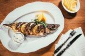 Fotografie Pečená ryba s citronem a bylinkami na bílé plotně s omáčkou na dřevěný stůl
