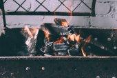 Detailní pohled na grilu s ohněm, plameny a uhly interiéru