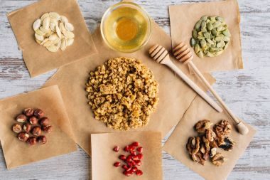 top view of homemade granola ingredients on baking parchment pieces