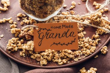 overhead view of homemade granola with tag on tray