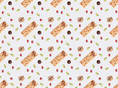 collection of granola bar and seeds isolated on white
