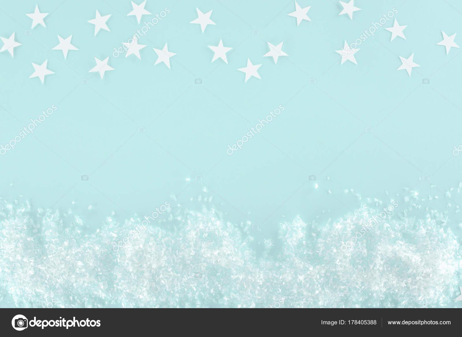Fondo Navidad Con Nieve Decorativa Estrellas Aislados Azul Claro