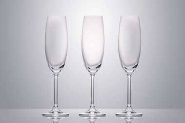 Three empty clean glasses on white stock vector