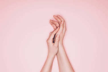 cropped shot of female hands with perfect skin isolated on pink