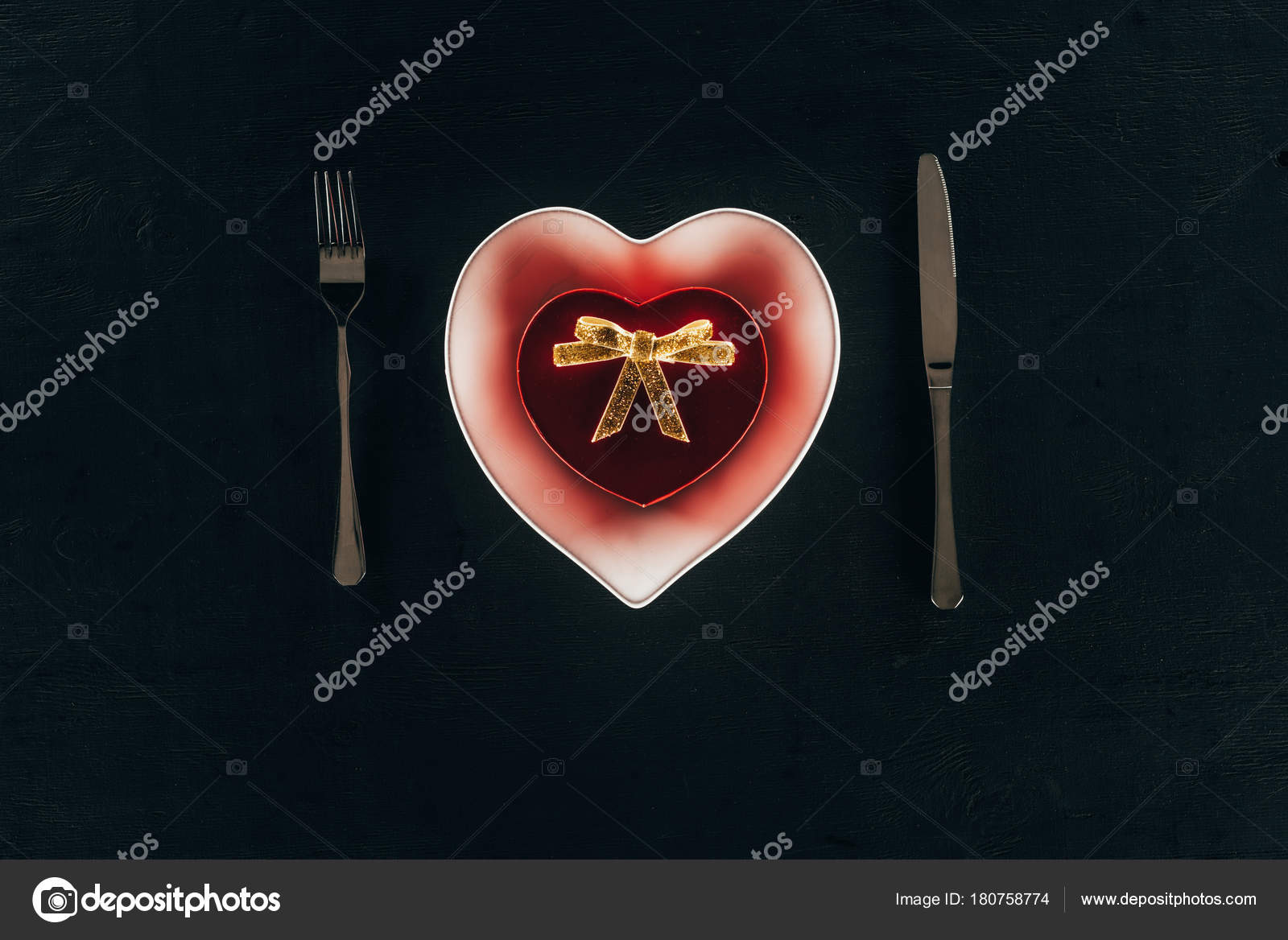 Top View Red Gift Box Shape Heart Plate Cutlery Isolated Stock